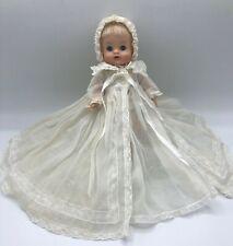 """1963 Vintage Madam Alexander Doll """"Littlest Kitten"""" in Christening Gown 8 inches"""