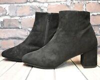 Womens Primark Black Zip Up Mid Heel Ankle Boots Size UK 8 EUR 41 US 10