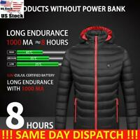 USA Womens Men Electric Heating Padded Jacket USB Heated Winter Warm Hooded Coat
