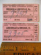 2 1952 PRR Pennsylvania Railroad Chicago IL Louisville Kentuky Pullman Tickets