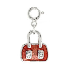 Sterling Silver Jeweled Purse Enameled Pendant w/ CZ Stones for Charm Bracelet
