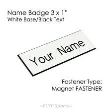 "Name Badge Tag Magnetic White/Black 3x1"" Personalised Engraved Employee Custo..."