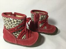 stride rite 3 holl red/animal boots girls infant/baby
