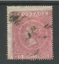 SG126 THE 1867 5/- ROSE PLATE 1  (HB) USED CAT £675 GOOD SOUND STAMP