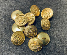 """7/8"""" Civil War - Brass """"Georgia"""" State buttons, Frock Lot of 11 - Large NEW"""