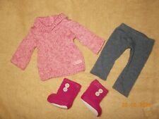 American Girl Doll Cozy Sweater Outfit partial pink sweater leggings knit boots
