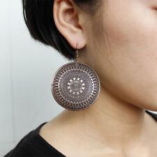 UK BOHO BRONZE ROUND DISC EARRINGS Bohemian Tribal Ethnic Vintage Jewellery