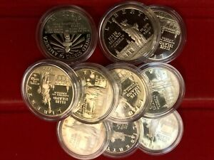 10 Coin 1986-S Proof STATUE OF LIBERTY Silver Dollar LOT OF TEN in capsules PF