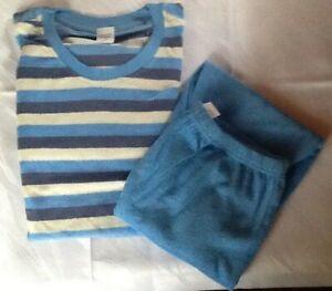 Frauen Casual zweiteilig Pyjama Langarm gestreift Patchwork T-Shirt und M9 03
