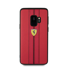 Ferrari PU Leather Case for Samsung Galaxy S9 Hard Case Red Drop Protection
