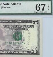 2006 $5 ATLANTA *STAR* 🌟 FRN, PMG SUPERB GEM UNCIRCULATED 67 EPQ BANKNOTE