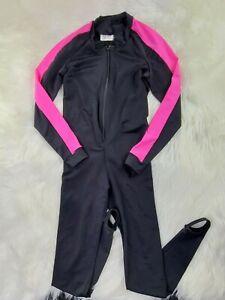 Women's Wetsuit Full Long Sleeve Suit Black Pink Size L