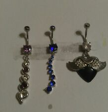 Lot of 3 Belly Button Ring Dangle Navel Set Piercing Body Jewelry Heart Wings