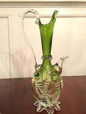 Vintage SALVIATI Venetian Italian ART-GLASS DECORATIVE PITCHER EWER Green Clear