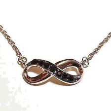"""Infinity Pendant Necklace W/ Black Crystals 18"""" + 2"""" Extension"""
