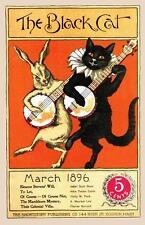 CAT, CHAT, KATZE, BLACK CAT, BUNNY RABBIT, BANJOS, MAGAZINE COVER, 1896, MAGNET