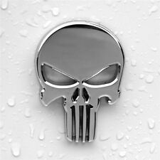 1pcs Motorcycle Auto DIY Skull Punisher Silver Metal Emblem Badge Decals Sticker