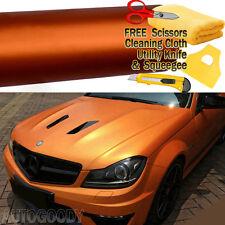 """96"""" x 60"""" Satin Matte Chrome Metallic Orange Vinyl Film Wrap Sticker Bubble Free"""
