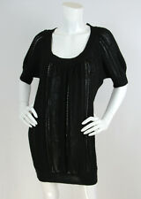 Catherine Malandrino Sz S Black Baby Alpaca Open Knit Short Sleeve Sweater Dress
