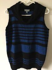 NWT Joseph A Sleeveless Cowl Neck Sweater Black/Blue Striped Size Large