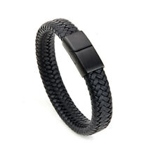 Mens Black Leather Bracelet Wristband Stainless Steel Clasp Christmas Gifts