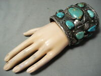 300 GRAMS BIG BEST VINTAGE MEN'S NAVAJO TURQUOISE STERLING SILVER BRACELET