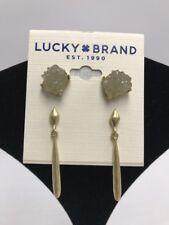 $35 Lucky Brabs gold tone 2 pc rock crystal stud & drop earrings Ml1