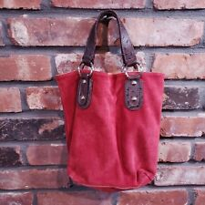 Boho Red Suede Small Bucket Handbag Tote Bag Purse Lined Made in Italy
