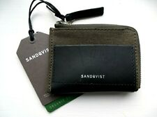 SANDQVIST of Sweden Beluga Canvas / Black Leather Zipped Pouch WALLET