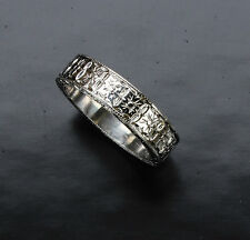Hand Engraved Silver Wedding Band  6mm wide