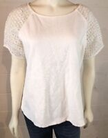 J Crew Women's Lace Sleeve Top White Size L Zipper Back Minimalist Style