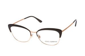 New Dolce & Gabbana DG 1298 01 Matte Black Pink Gold RX Eyeglasses 54 mm Italy