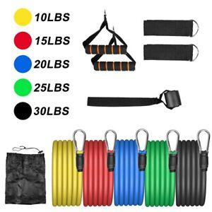 11tlg Widerstandsbänder Gymnastikband Fitnessbänder Resistance Expander Yoga Neu