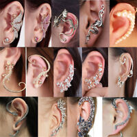 Fashion Crystal Clip Ear Cuff Stud  Punk Wrap Cartilage Earring Women's Jewelry