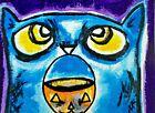 "ACEO Original ""Halloween Treat Please"" Cat 2.5 x 3.5 Painting Samantha McLean"