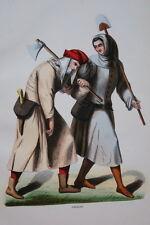 GRAVURE EN COULEURS-PAYSANS -COSTUMES MOYEN AGE 1847-ANTIQUE  PRINT