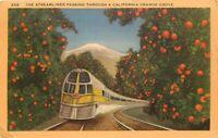 Linen Postcard CA L079 The Streamliner Passing Through a California Orange Grove