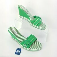 New American Eagle Wedges Shoes Heeled Sandals Open Toe Green Womens Size 7.5