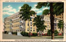 Postcard Lake Court Apartment Hotel West Palm Beach Florida 1942