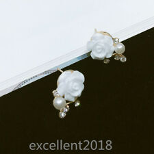 Fashion Women Gold Plated Alloy Cute White Rose Pearl Cubic Zircon Stud Earrings