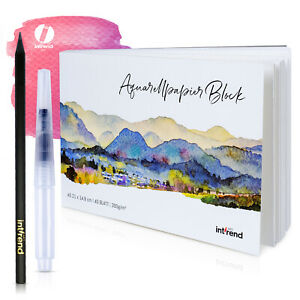 Aquarellpapier DIN A5 300g 40 Blatt inkl. Wassertankpinsel und Bleistift