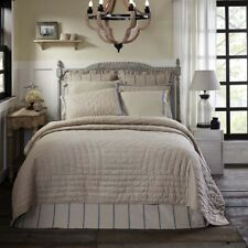 VHC Farmhouse Reversible Bed Quilt King Queen or Twin Bedspread Tan Cotton Linen