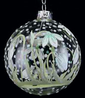 Gisela Graham Painted Snowdrops Clear Glass Bauble Christmas Tree Decoration