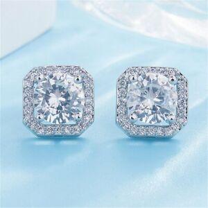 925 Silver Crystal Heart White Earrings Stud Dangle Women Wedding Fashion Gift