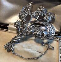 Vintage Silver Marcasite Flower Spray Brooch Safety Chain