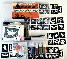 GLITTER TATTOO KIT Halloween  156 stencils 4 Puffers 2 Glue Gift Box Wrapped