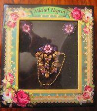 Michal Negrin Pin Brooch & Clip Earrings Delicate Purple Pink Swarovski Crystals