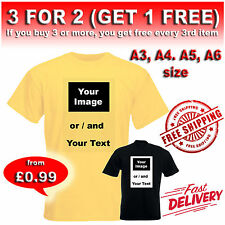 Personalised Iron on T-shirt Transfer printing Custom Photo T-shirt Print A6-A3