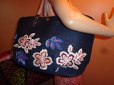 NWT TORY BURCH KERRINGTON STRAW SQUARE Floral NAVY Tote $395  X-Large