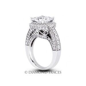 2.23ctw J-VS1 Ideal Princess AGI Genuine Diamonds 950Plt Halo Vintage Ring 3.4mm